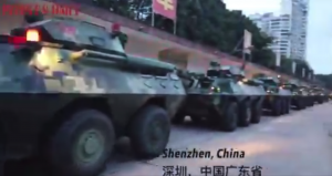 Convoy of Armored Chinese Police Vehicles Masses near Hong Kong